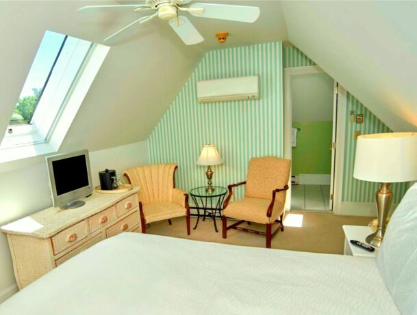 An attic guest room with vaulted ceiling and skylight