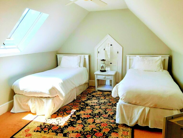 2 twin beds sit under a skylight