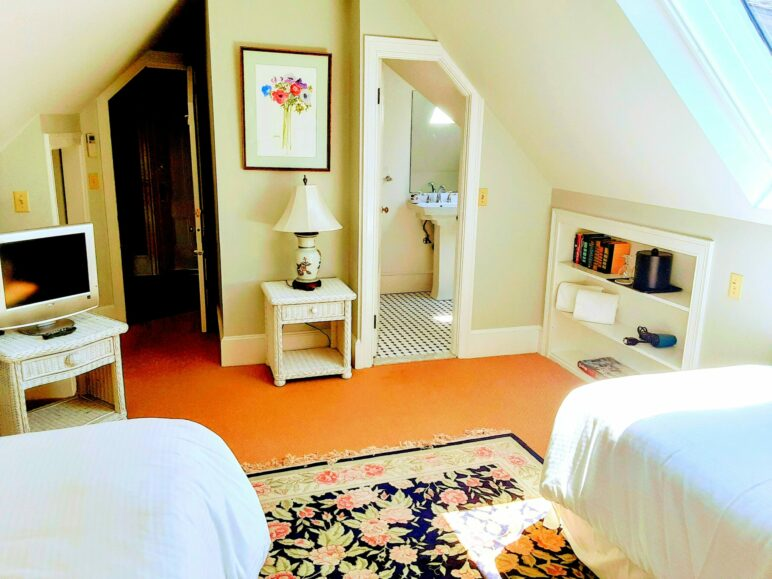 2 twin beds face a bathroom with an oriental rug in between