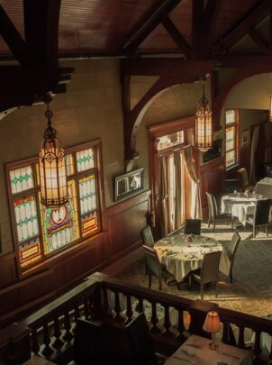 Looking down into the Belfry restaurant from the balcony