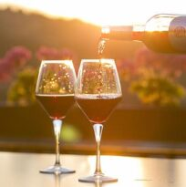 2 wine glasses are shown at sunset