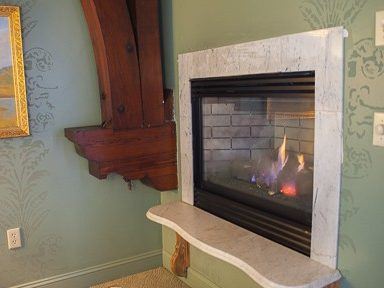 A gas fireplace in a room