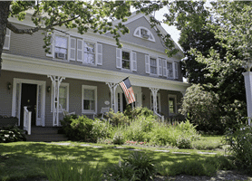 The front porch of the 1827 Village House