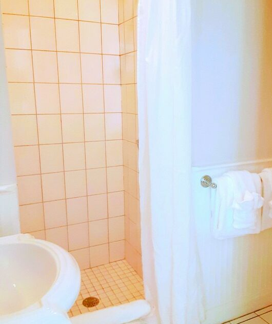A bathroom with tiled shower is shown