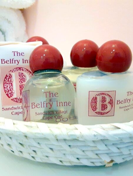 a basket of bath soaps is shown